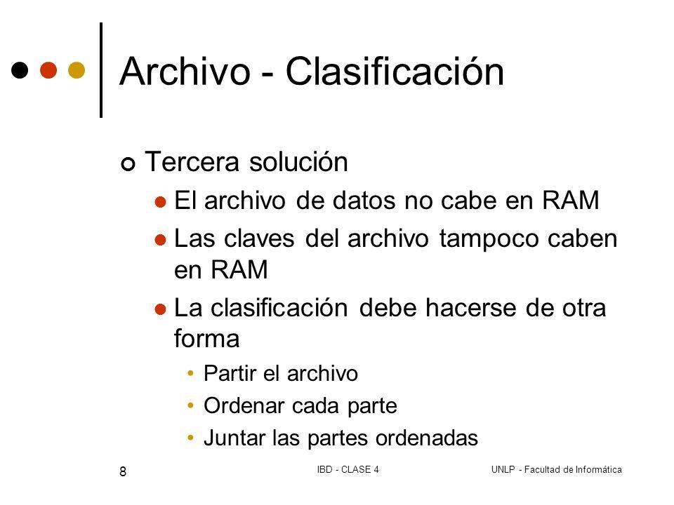 UNLP - Facultad de InformáticaIBD - CLASE 4 8 Archivo - Clasificación Tercera solución El archivo de datos no cabe en RAM Las claves del archivo tampoco caben en RAM La clasificación debe hacerse de otra forma Partir el archivo Ordenar cada parte Juntar las partes ordenadas