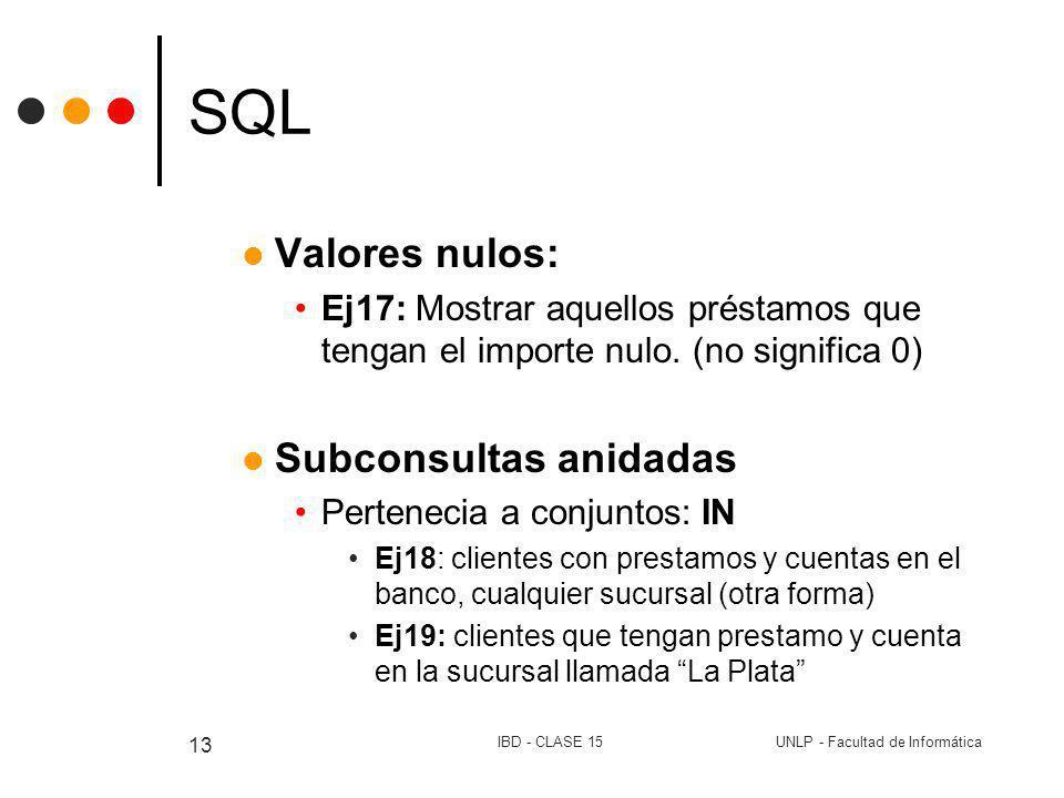 UNLP - Facultad de InformáticaIBD - CLASE 15 13 SQL Valores nulos: Ej17: Mostrar aquellos préstamos que tengan el importe nulo. (no significa 0) Subco