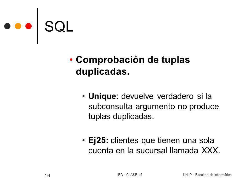 UNLP - Facultad de InformáticaIBD - CLASE 15 16 SQL Comprobación de tuplas duplicadas. Unique: devuelve verdadero si la subconsulta argumento no produ