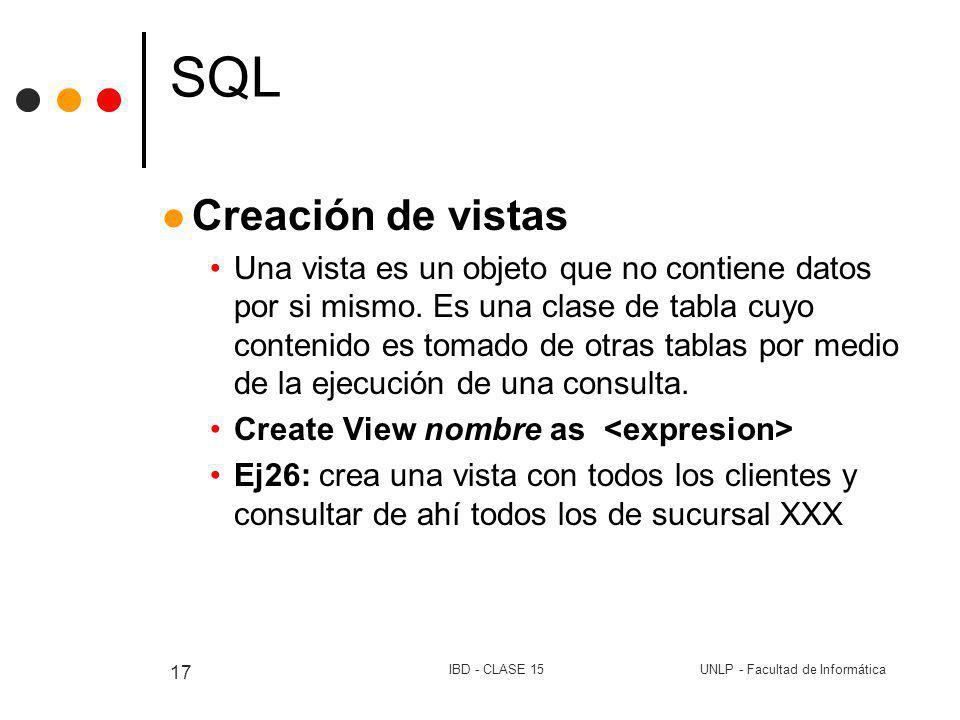 UNLP - Facultad de InformáticaIBD - CLASE 15 17 SQL Creación de vistas Una vista es un objeto que no contiene datos por si mismo. Es una clase de tabl