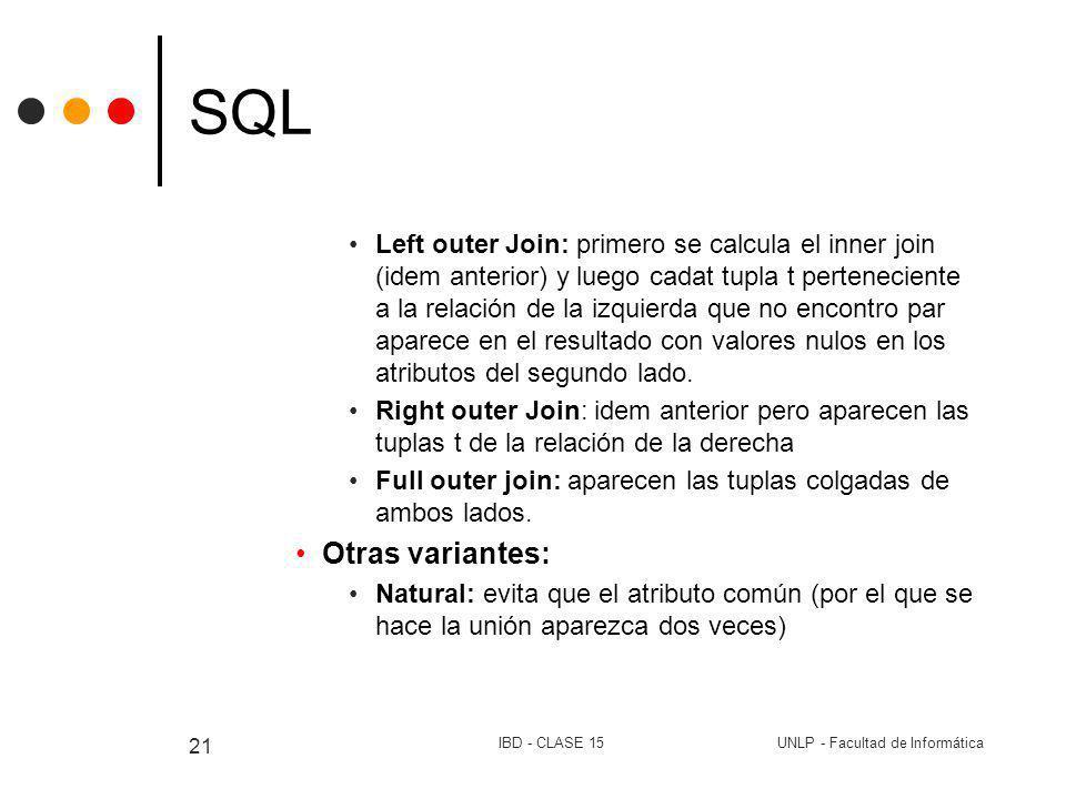 UNLP - Facultad de InformáticaIBD - CLASE 15 21 SQL Left outer Join: primero se calcula el inner join (idem anterior) y luego cadat tupla t pertenecie