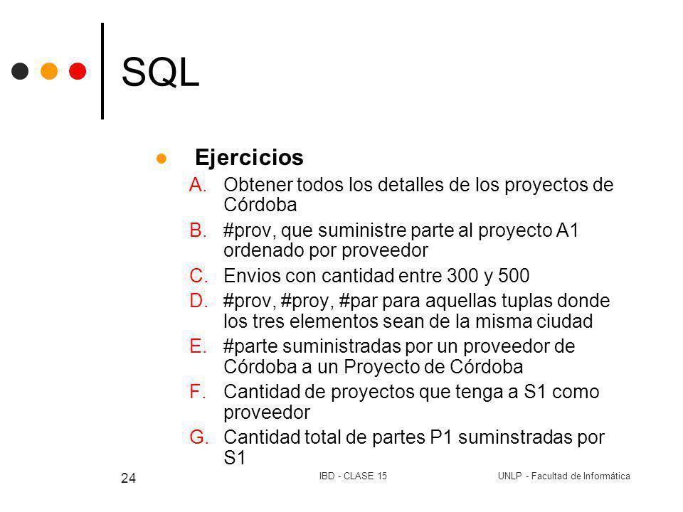 UNLP - Facultad de InformáticaIBD - CLASE 15 24 SQL Ejercicios A.Obtener todos los detalles de los proyectos de Córdoba B.#prov, que suministre parte