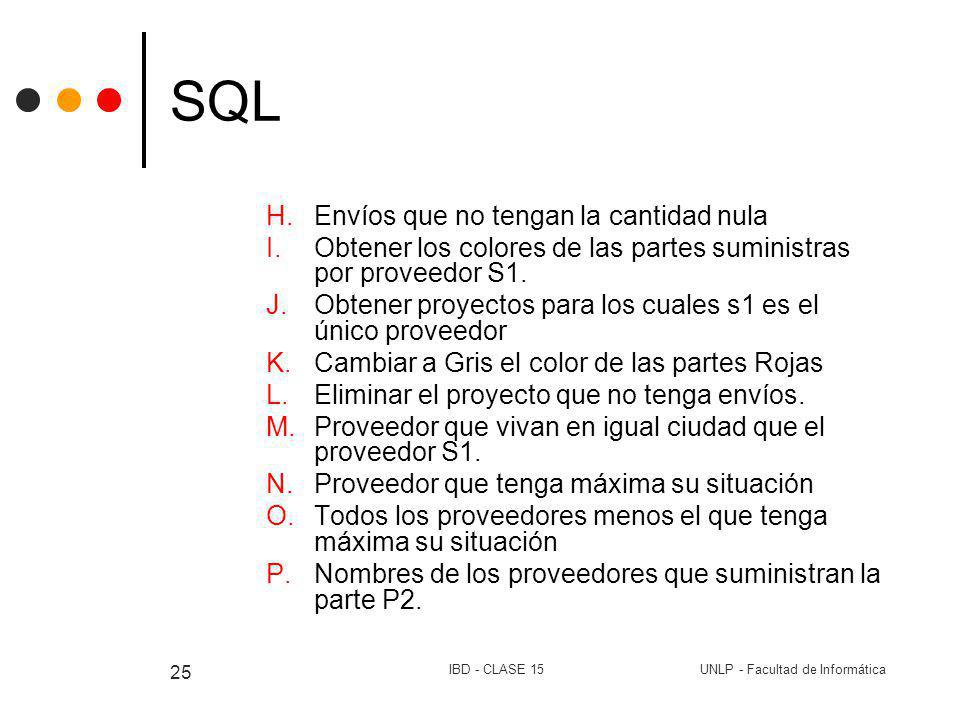 UNLP - Facultad de InformáticaIBD - CLASE 15 25 SQL H.Envíos que no tengan la cantidad nula I.Obtener los colores de las partes suministras por provee