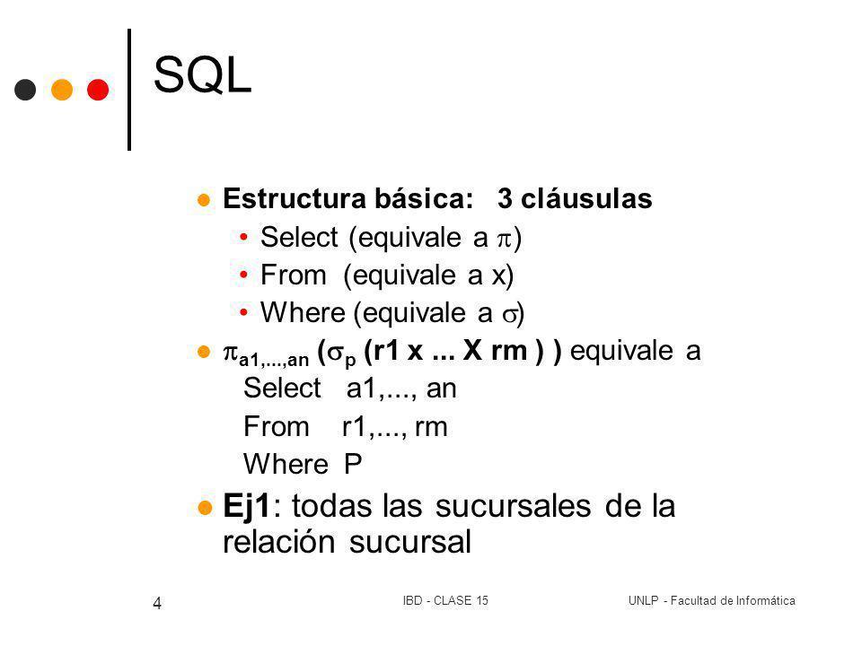 UNLP - Facultad de InformáticaIBD - CLASE 15 4 SQL Estructura básica: 3 cláusulas Select (equivale a ) From (equivale a x) Where (equivale a ) a1,...,