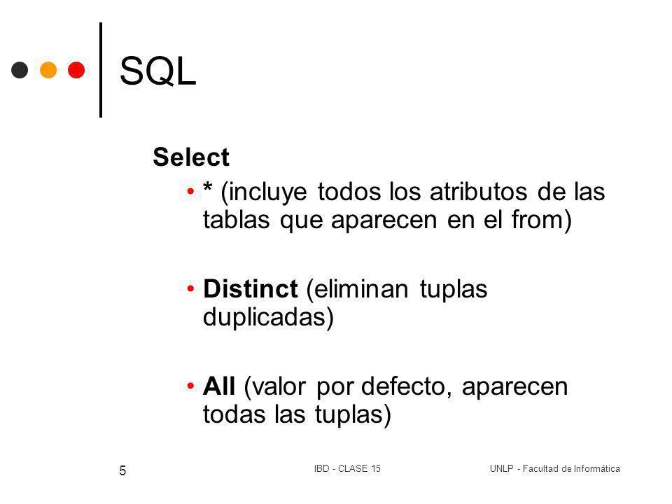 UNLP - Facultad de InformáticaIBD - CLASE 15 5 SQL Select * (incluye todos los atributos de las tablas que aparecen en el from) Distinct (eliminan tup
