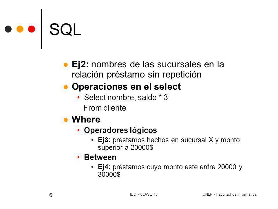 UNLP - Facultad de InformáticaIBD - CLASE 15 6 SQL Ej2: nombres de las sucursales en la relación préstamo sin repetición Operaciones en el select Sele