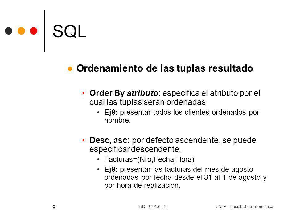 UNLP - Facultad de InformáticaIBD - CLASE 15 9 SQL Ordenamiento de las tuplas resultado Order By atributo: especifica el atributo por el cual las tupl
