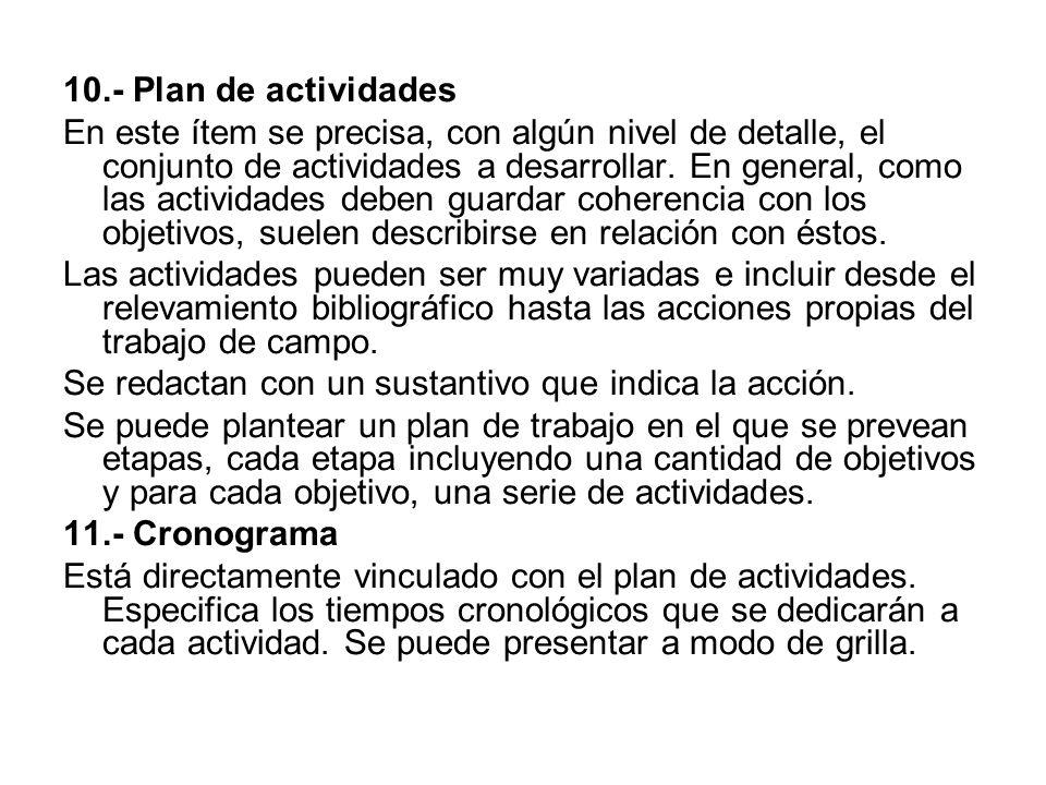 10.- Plan de actividades En este ítem se precisa, con algún nivel de detalle, el conjunto de actividades a desarrollar.