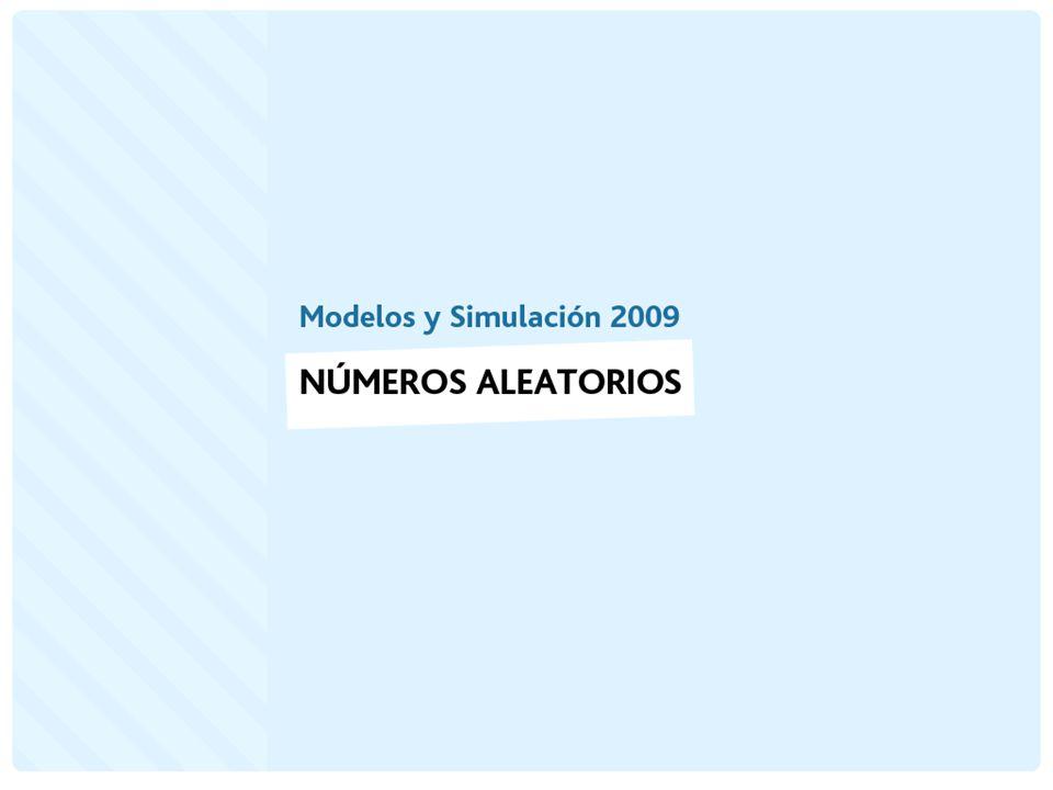 Números aleatorios Los números aleatorios son un elemento básico en la simulación de la mayoría de los sistemas discretos.