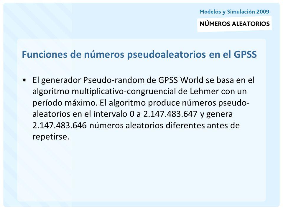 Atributos de los generadores de números aleatorios del GPSS A menos que sea cambiada por un RMULT, la semilla inicial es igual al número que identifica la número aleatorio elegido.