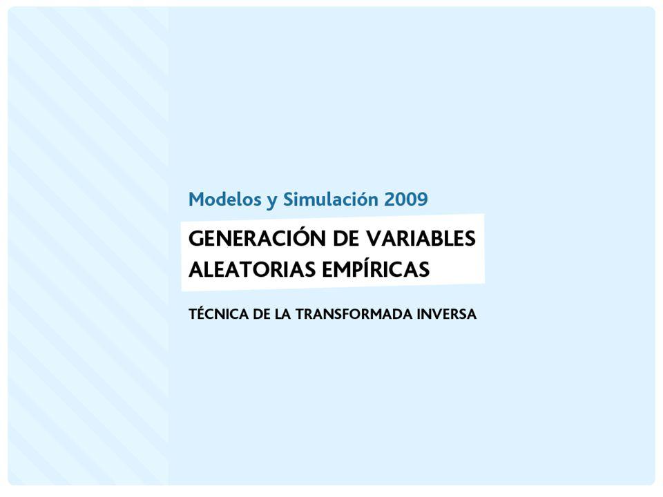 Generación de Variables Aleatorias Empíricas Discretas Suponga que un determinado fenómeno aleatorio tiene la siguiente distribución de probabilidad: