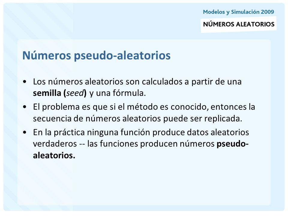 Técnicas para generar números aleatorios La mayoría de los métodos (generadores) comienzan con un número inicial (semilla), a este número se le aplica un determinado procedimiento y así se encuentra el primer número random.