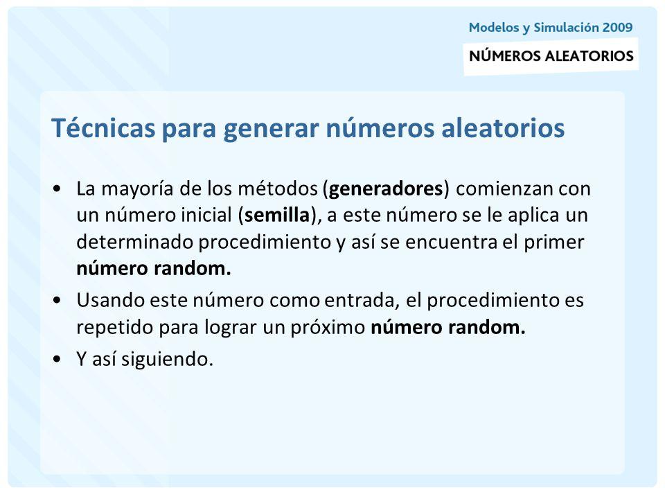 Técnicas para generar números aleatorios Método Del Cuadrado Medio: comienza con un número inicial (semilla).