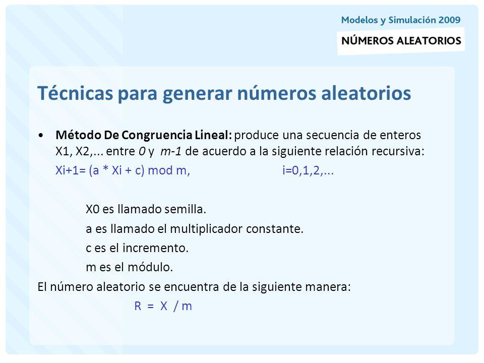 Técnicas para generar números aleatorios Ejemplo: Utilice el método de Congruencia Lineal para generar números aleatorios con las siguiente constantes: X0 = 27, a = 17, c = 43, m = 100 La secuencia de Xi y subsecuentes Ri serían: X0 = 27 X1 = (17 * 27 + 43) mod 100 = 502 mod 100 = 2 R1 = 2/100 = 0.02 X2 = (17 * 2 + 43) mod 100 = 77 mod 100 = 77 R2 = 77/100 = 0.77 La selección de los parámetros del generador afecta drásticamente las propiedades ideales y la longitud del ciclo.