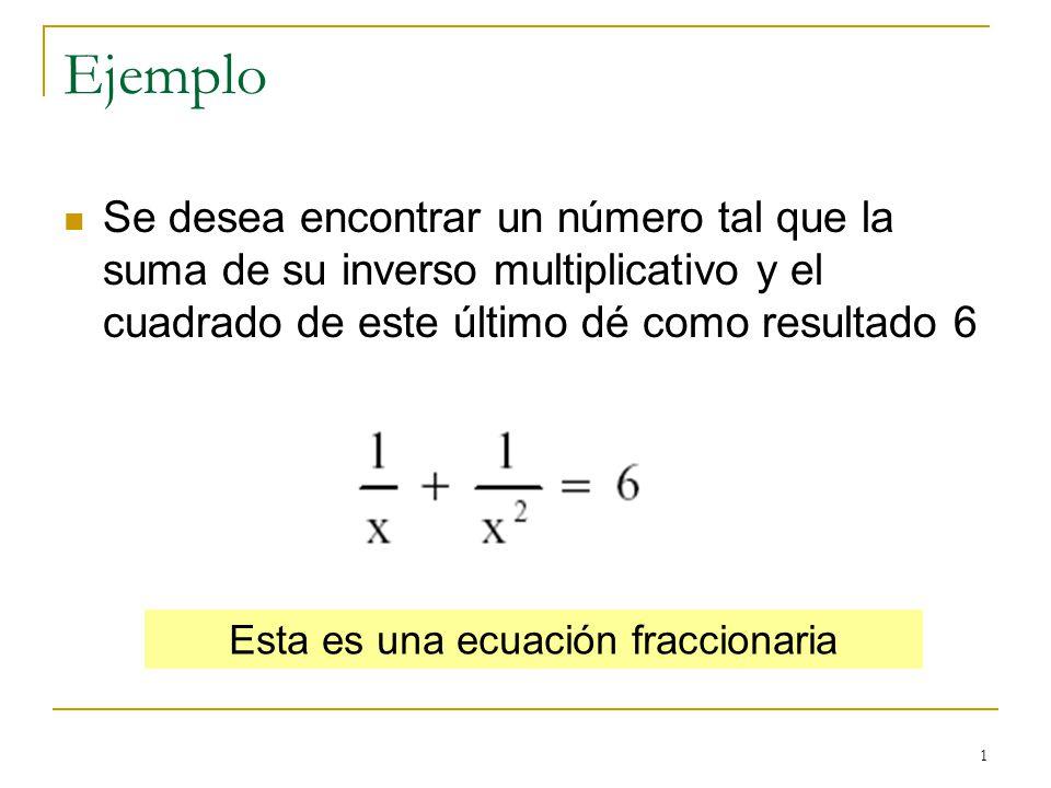 1 Ejemplo Se desea encontrar un número tal que la suma de su inverso multiplicativo y el cuadrado de este último dé como resultado 6 Esta es una ecuac