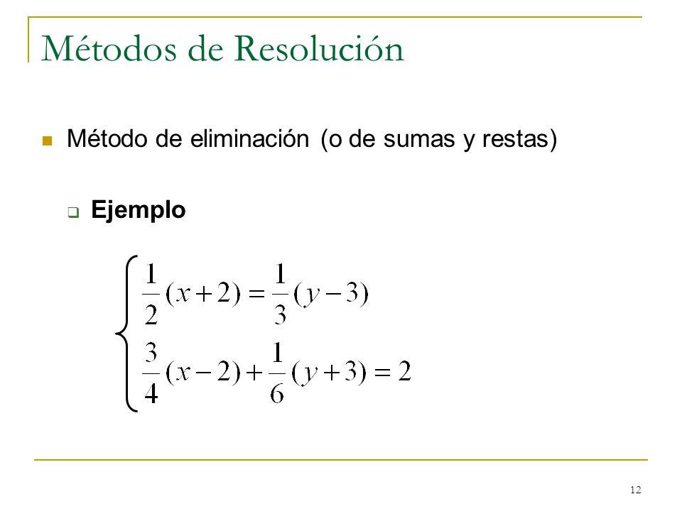 12 Métodos de Resolución Método de eliminación (o de sumas y restas) Ejemplo