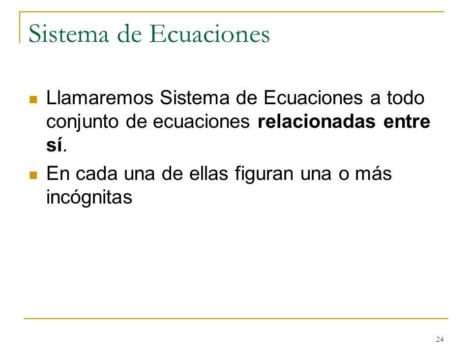 24 Sistema de Ecuaciones Llamaremos Sistema de Ecuaciones a todo conjunto de ecuaciones relacionadas entre sí. En cada una de ellas figuran una o más