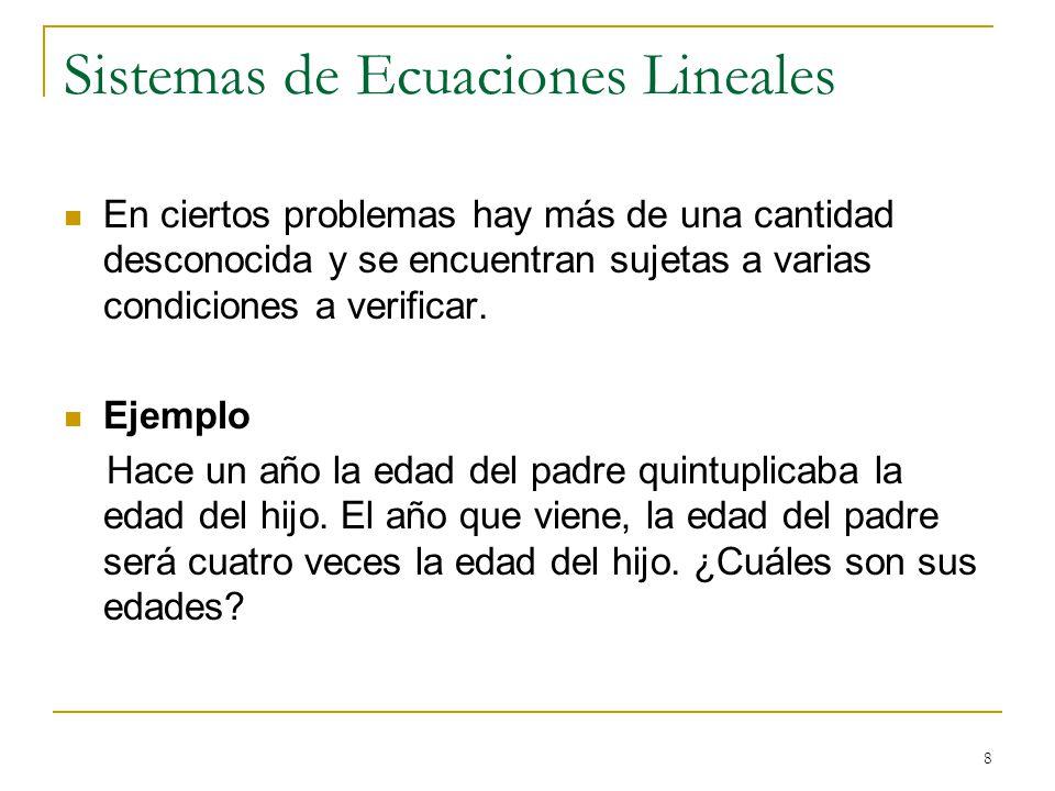 8 Sistemas de Ecuaciones Lineales En ciertos problemas hay más de una cantidad desconocida y se encuentran sujetas a varias condiciones a verificar. E