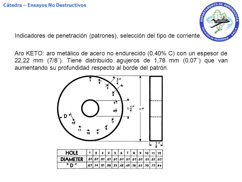 Cátedra – Ensayos No Destructivos Indicadores de penetración (patrones), selección del tipo de corriente. Aro KETO: aro metálico de acero no endurecid