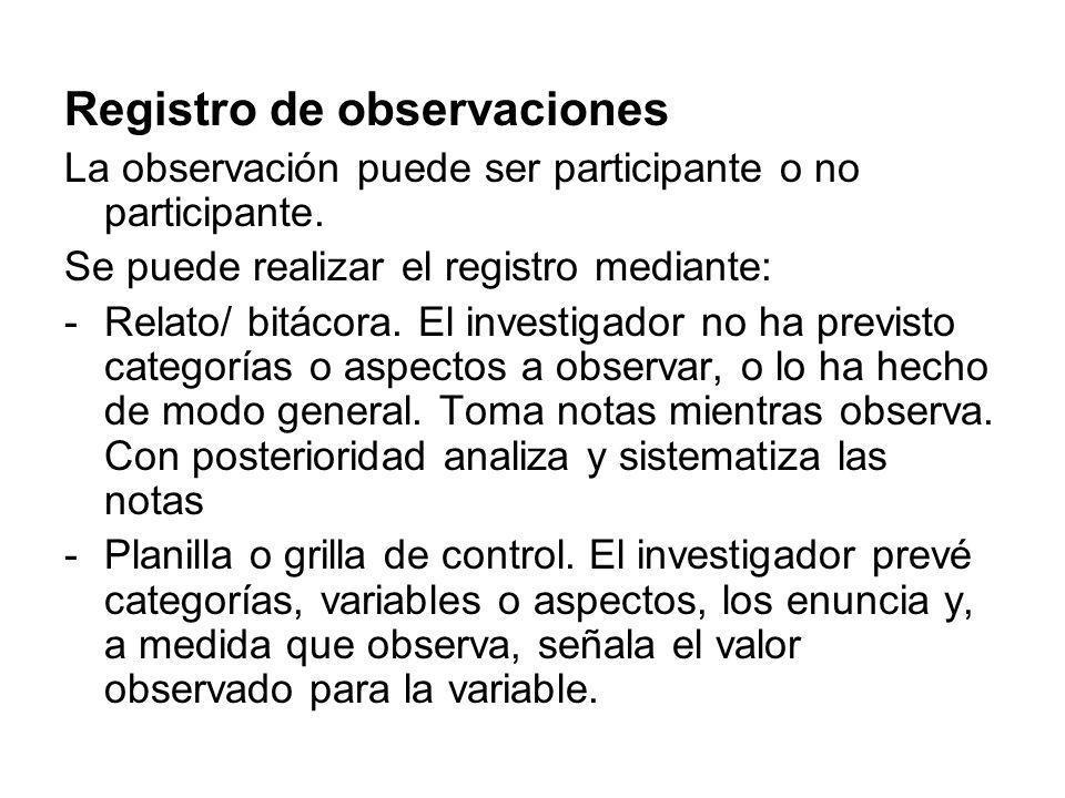 Registro de observaciones La observación puede ser participante o no participante. Se puede realizar el registro mediante: -Relato/ bitácora. El inves