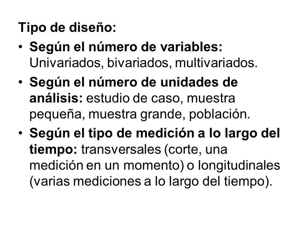 Tipo de diseño: Según el número de variables: Univariados, bivariados, multivariados. Según el número de unidades de análisis: estudio de caso, muestr