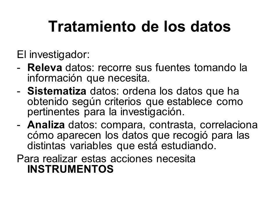 Tratamiento de los datos El investigador: -Releva datos: recorre sus fuentes tomando la información que necesita. -Sistematiza datos: ordena los datos