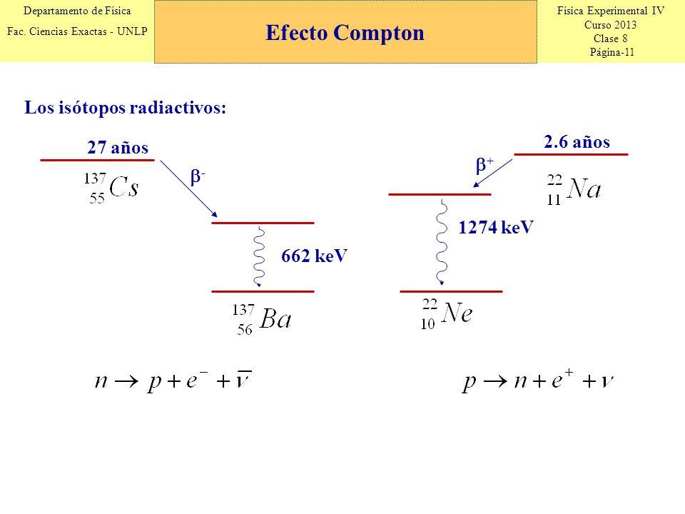 Física Experimental IV Curso 2013 Clase 8 Página-11 Departamento de Física Fac. Ciencias Exactas - UNLP Los isótopos radiactivos: 27 años - 662 keV 2.