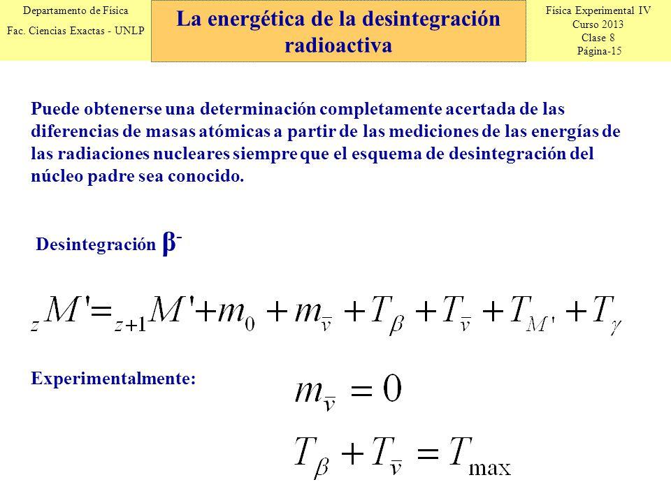 Física Experimental IV Curso 2013 Clase 8 Página-15 Departamento de Física Fac. Ciencias Exactas - UNLP La energética de la desintegración radioactiva