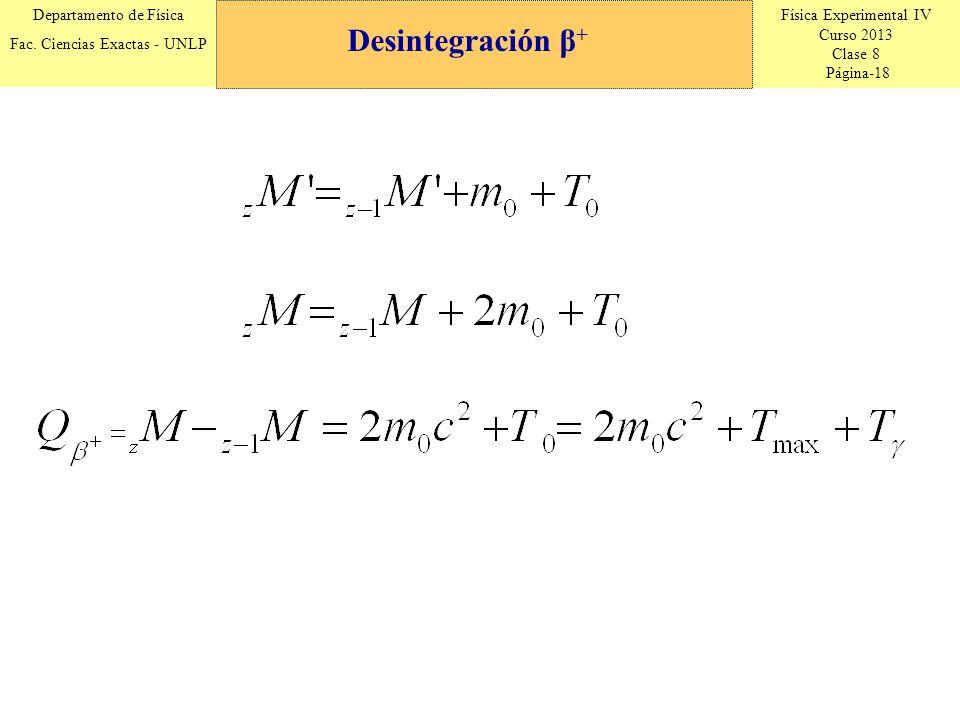 Física Experimental IV Curso 2013 Clase 8 Página-18 Departamento de Física Fac. Ciencias Exactas - UNLP Desintegración β +