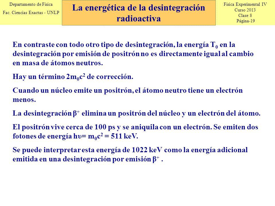 Física Experimental IV Curso 2013 Clase 8 Página-19 Departamento de Física Fac. Ciencias Exactas - UNLP La energética de la desintegración radioactiva