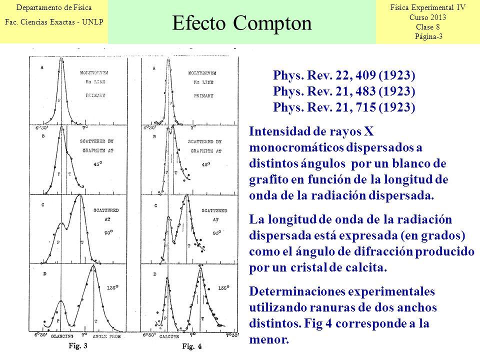 Física Experimental IV Curso 2013 Clase 8 Página-3 Departamento de Física Fac. Ciencias Exactas - UNLP Efecto Compton Phys. Rev. 22, 409 (1923) Phys.