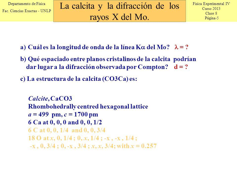 Física Experimental IV Curso 2013 Clase 8 Página-5 Departamento de Física Fac. Ciencias Exactas - UNLP La calcita y la difracción de los rayos X del M