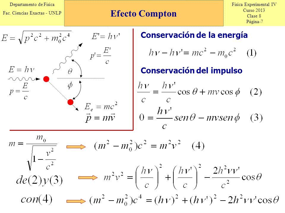 Física Experimental IV Curso 2013 Clase 8 Página-7 Departamento de Física Fac. Ciencias Exactas - UNLP Conservación de la energía Conservación del imp