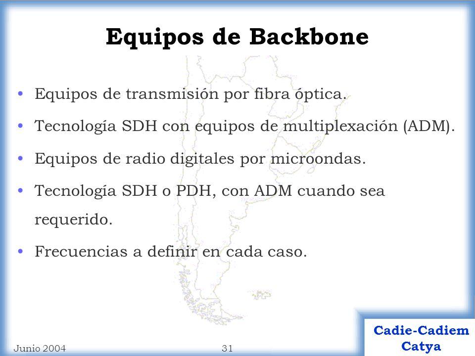 30 Cadie-Cadiem Catya Junio 2004 Cadie-Cadiem Catya Plantel exterior red de FO Vínculos físicos de cableado en FO monomodo: 18 haces para el backbone (Normas ITU G.652 ed.