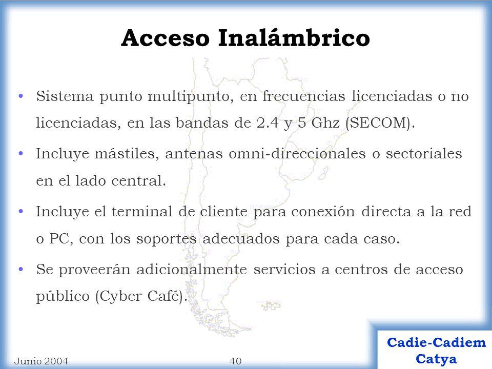39 Cadie-Cadiem Catya Junio 2004 Equipamiento para ADSL Mini DSLAM IP de 24 puertos DSLAM IP (Funcionalidad Bridge) de 120 puertos Módems USB Módems USB/Ethernet