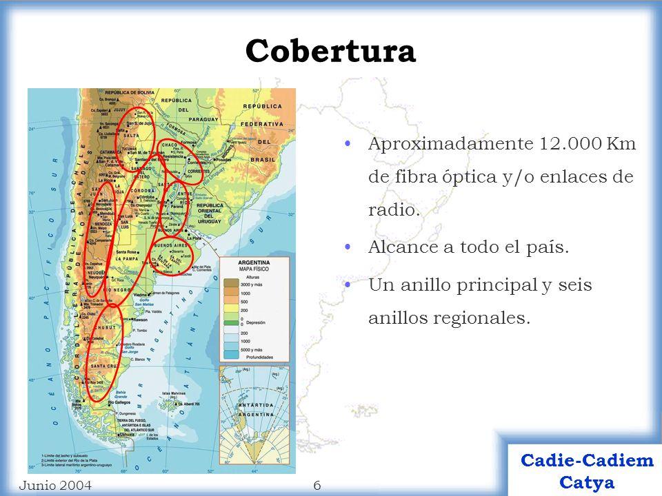 6 Cadie-Cadiem Catya Junio 2004 Cobertura Aproximadamente 12.000 Km de fibra óptica y/o enlaces de radio.