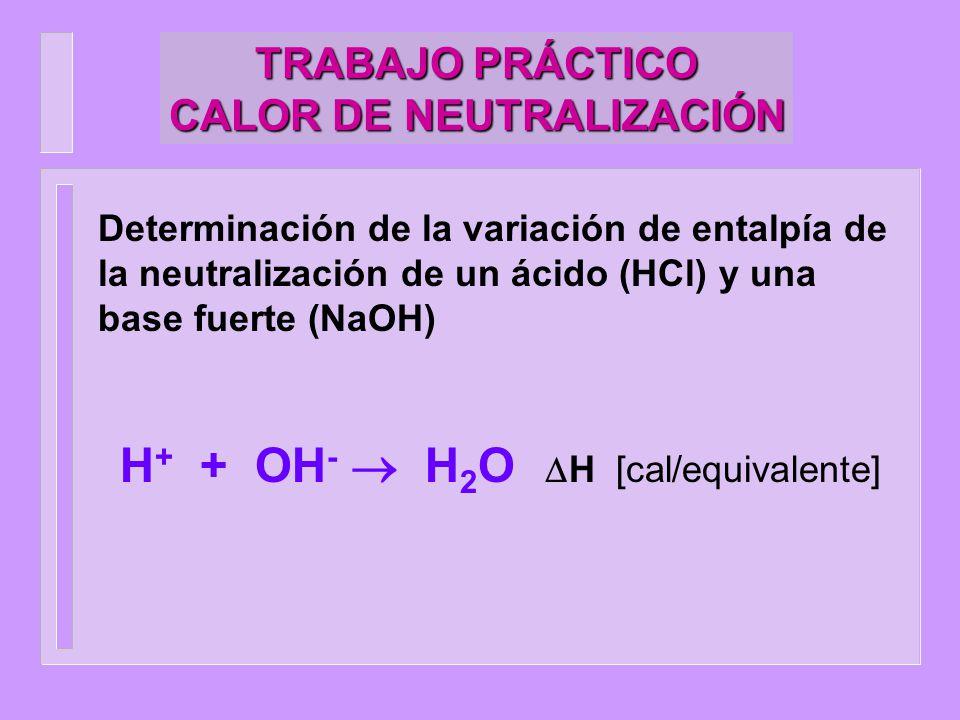 TRABAJO PRÁCTICO CALOR DE NEUTRALIZACIÓN Entorno Sistema SISTEMA: solución de ácido fuerte (HCl, 10.00ml 1.6 M) y una base fuerte (NaOH, 20 ml 2M) ENTORNO: calorímetro (termo adiabático) donde se encuentra un agitador, termómetro y ampolla de vidrio.