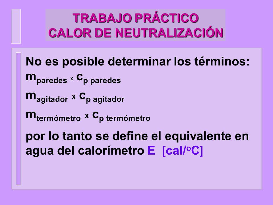 TRABAJO PRÁCTICO CALOR DE NEUTRALIZACIÓN No es posible determinar los términos: m paredes x c p paredes m agitador x c p agitador m termómetro x c p t