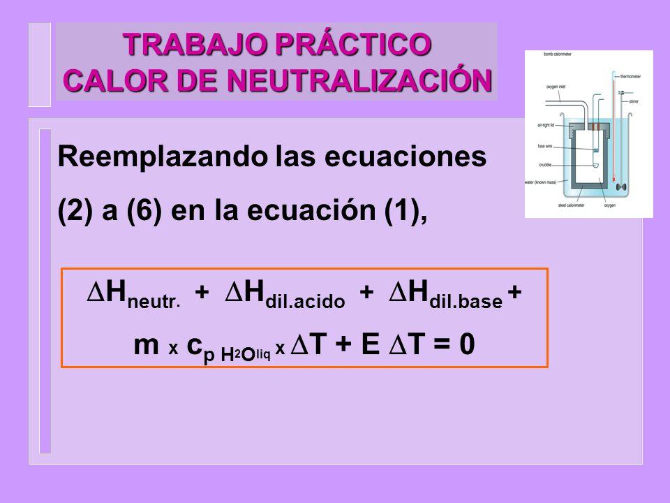 TRABAJO PRÁCTICO CALOR DE NEUTRALIZACIÓN Reemplazando las ecuaciones (2) a (6) en la ecuación (1), H neutr. + H dil.acido + H dil.base + m x c p H 2 O