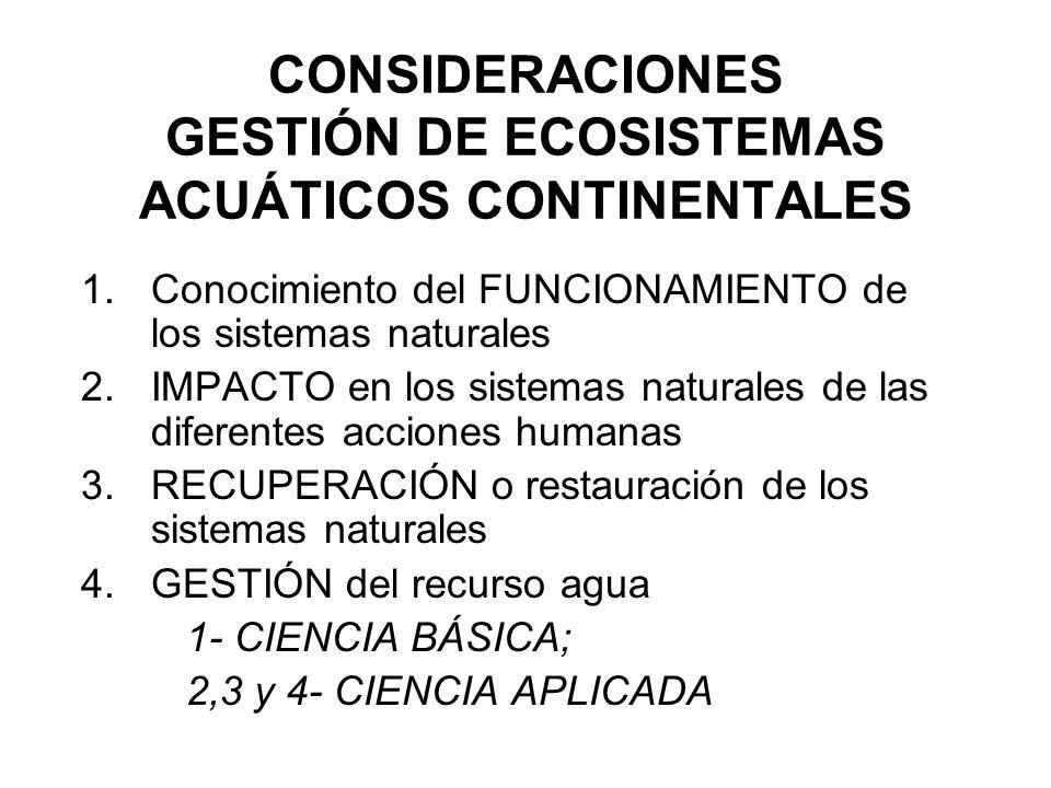 CONSIDERACIONES GESTIÓN DE ECOSISTEMAS ACUÁTICOS CONTINENTALES 1.Conocimiento del FUNCIONAMIENTO de los sistemas naturales 2.IMPACTO en los sistemas n