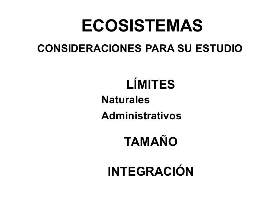 ECOSISTEMAS LÍMITES TAMAÑO INTEGRACIÓN CONSIDERACIONES PARA SU ESTUDIO Naturales Administrativos