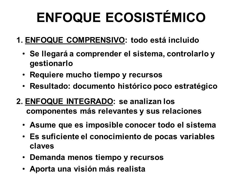 ENFOQUE ECOSISTÉMICO 1. ENFOQUE COMPRENSIVO: todo está incluido 2. ENFOQUE INTEGRADO: se analizan los componentes más relevantes y sus relaciones Se l