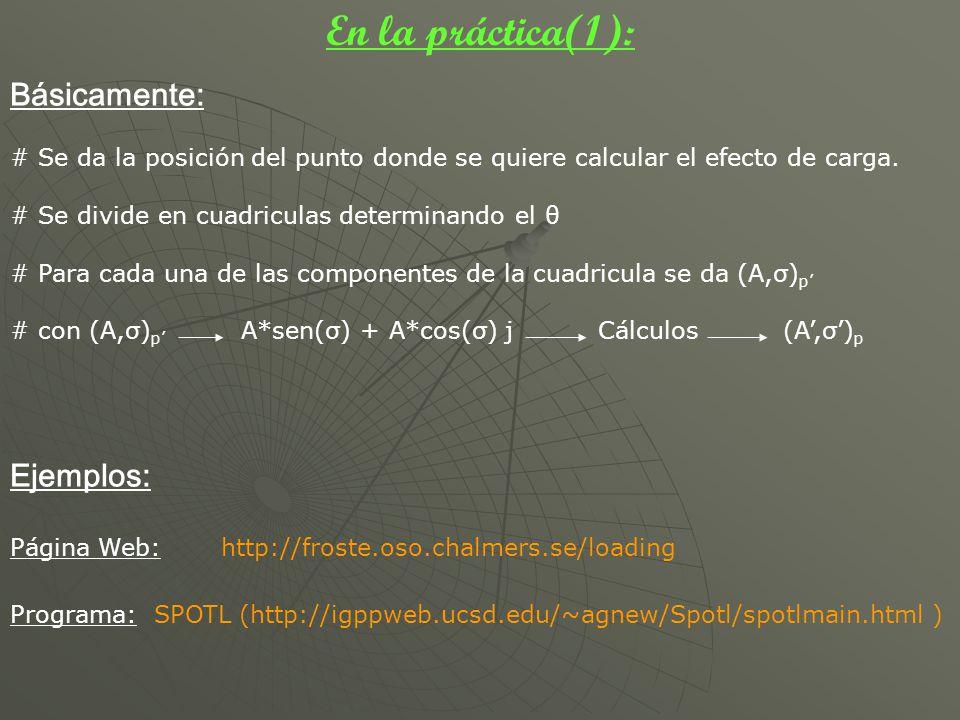 En la práctica(1): Básicamente: # Se da la posición del punto donde se quiere calcular el efecto de carga. # Se divide en cuadriculas determinando el