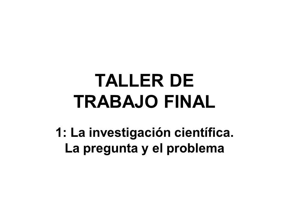 TALLER DE TRABAJO FINAL 1: La investigación científica. La pregunta y el problema