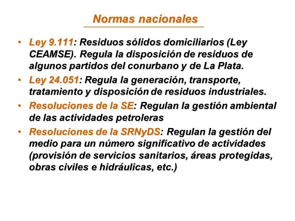 Normas nacionales Ley 9.111: Residuos sólidos domiciliarios (Ley CEAMSE).