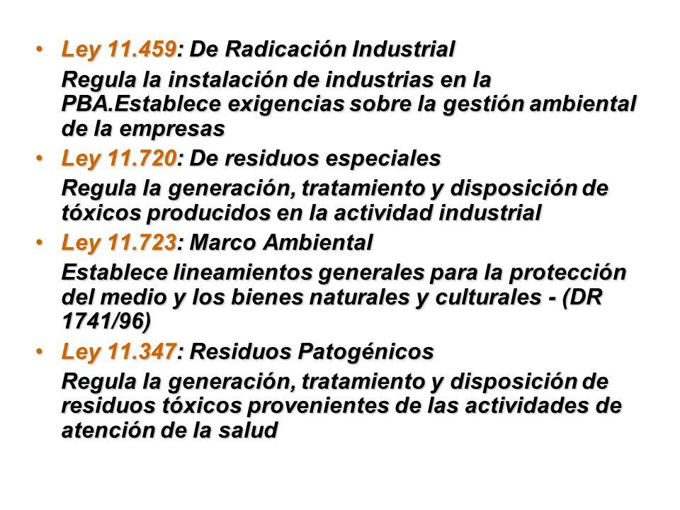Ley 11.459: De Radicación IndustrialLey 11.459: De Radicación Industrial Regula la instalación de industrias en la PBA.Establece exigencias sobre la g
