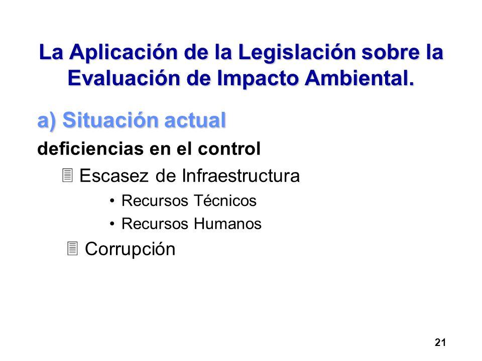 La Aplicación de la Legislación sobre la Evaluación de Impacto Ambiental. a) Situación actual deficiencias en el control 3 Escasez de Infraestructura