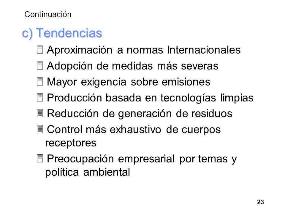 Continuación c) Tendencias 3 Aproximación a normas Internacionales 3 Adopción de medidas más severas 3 Mayor exigencia sobre emisiones 3 Producción ba