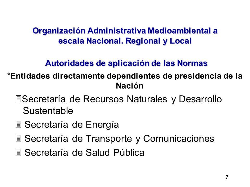 Organización Administrativa Medioambiental a escala Nacional. Regional y Local Autoridades de aplicación de las Normas *Entidades directamente dependi