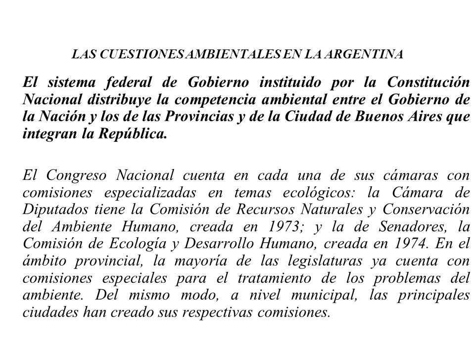 LAS CUESTIONES AMBIENTALES EN LA ARGENTINA El sistema federal de Gobierno instituido por la Constitución Nacional distribuye la competencia ambiental